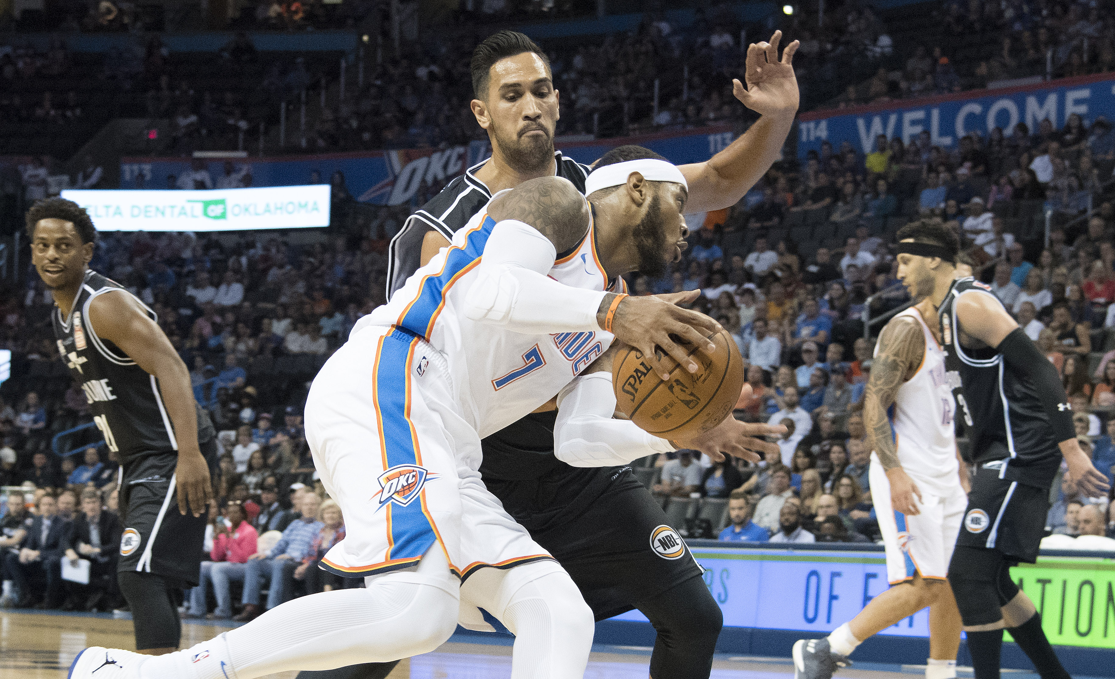 Five takeaways from okc thunder win against melbourne united page 3 oklahoma city ok october 8 carmelo anthony 7 of the okc thunder drives around tai wesley of melbourne united in the first half of a nba preseason game prinsesfo Images