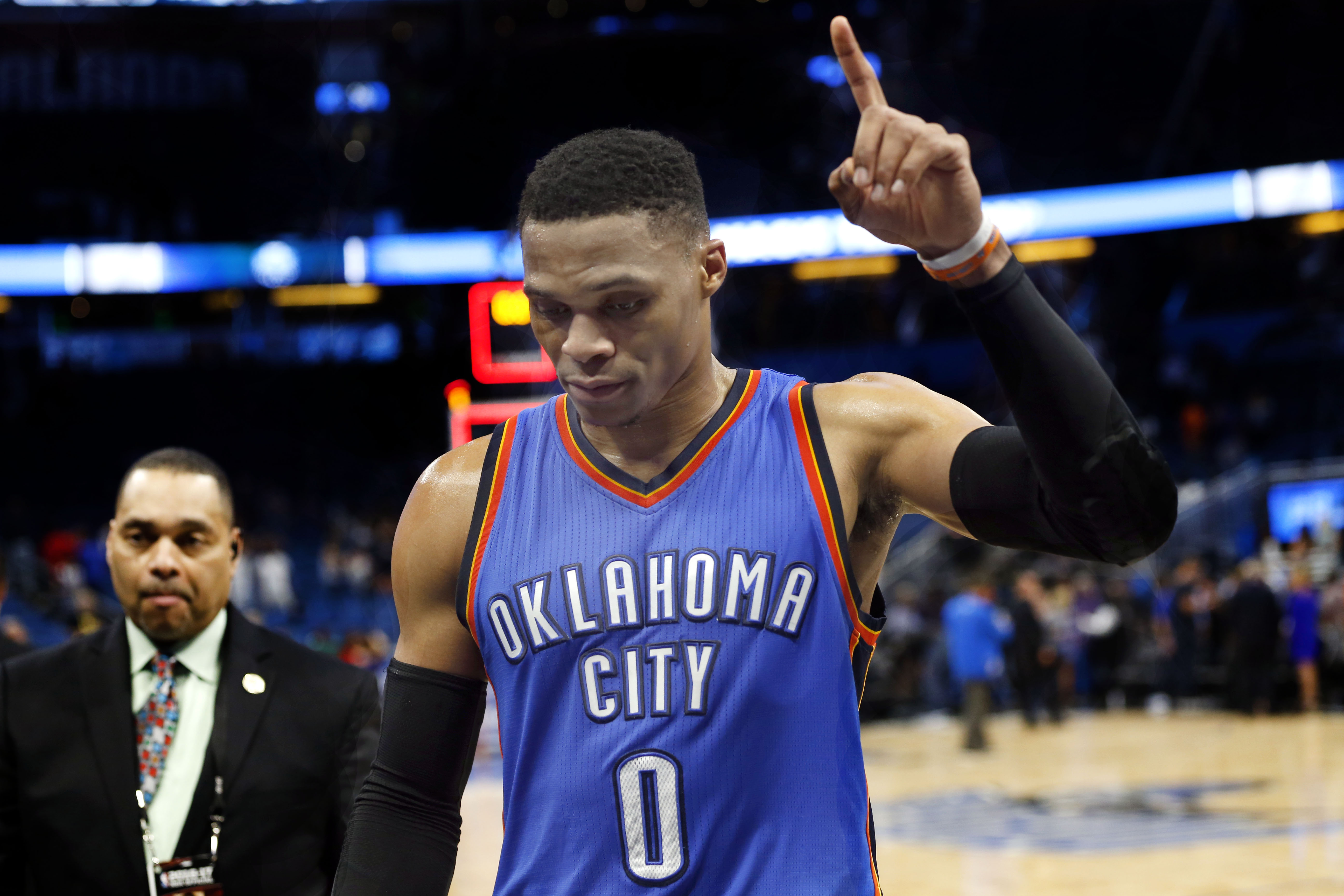 Mar   Orlando Fl Usa Oklahoma City Thunder Guard Russell Westbrook  Celebartes After They Beat Thew Orlando Magic In Overtime At Amway Center